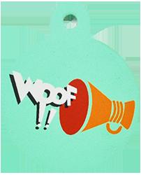 "Loudspeaker + "" WOOF!! "" slogan Circle Green"