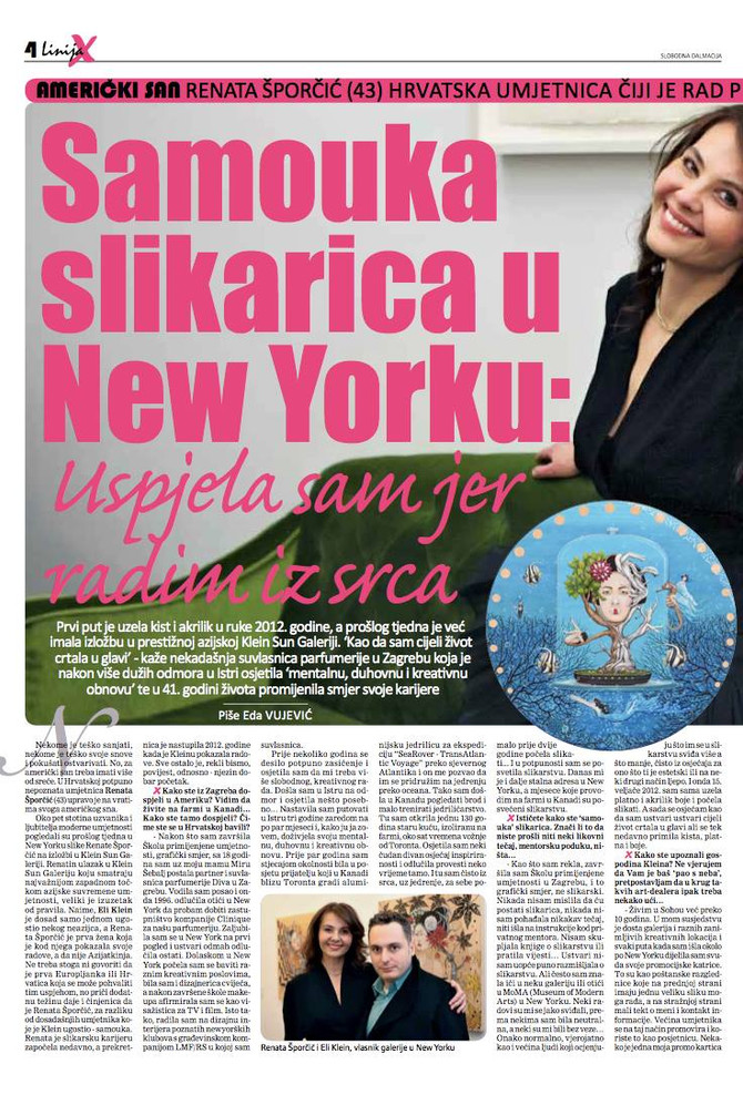 Feature on Renata in LINIJA-X / Slobodna Dalmacija