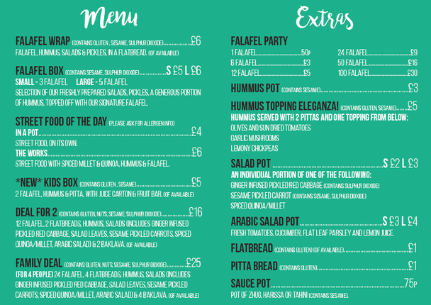 Main menu with allergens