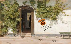 entrance to a graffited inn