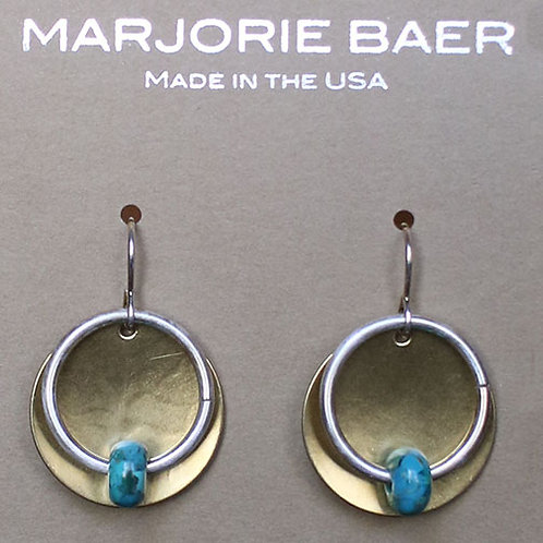 Silver Hoop on Brass Turquoise Earrings
