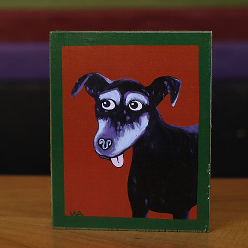 Black Dog  Wooden Block