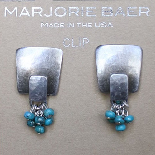 Silver and Turquoise Clip Earrings