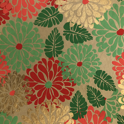 Red & Green Floral 8.5x11 paper