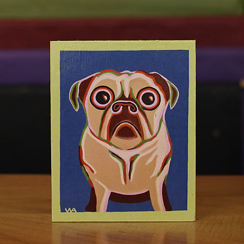 Pug Dog Wooden Block