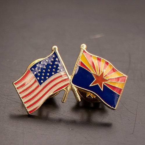 US & AZ Flag Enamel Pin
