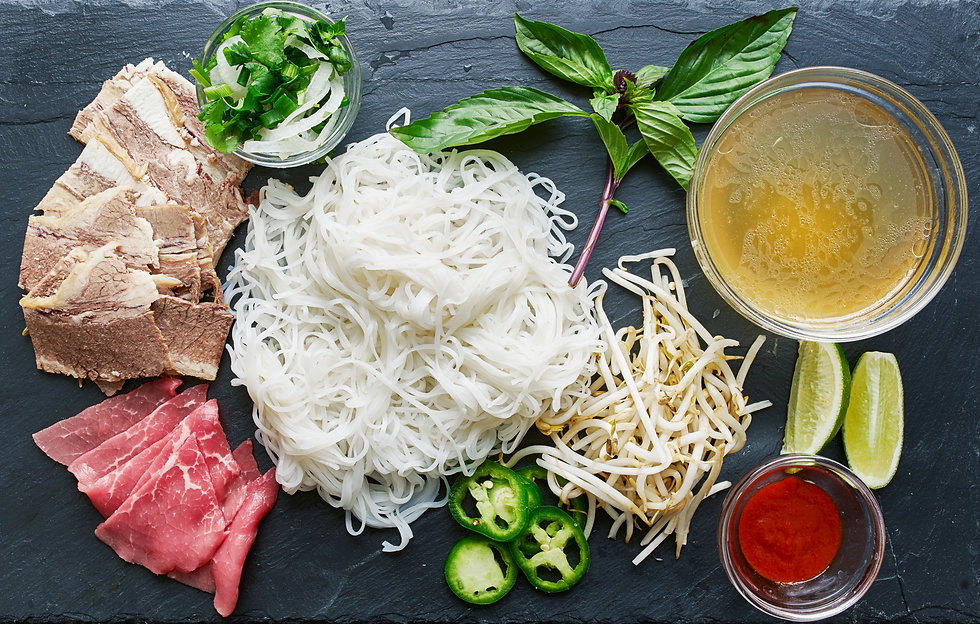 deconstructed pho laid out with all ingr