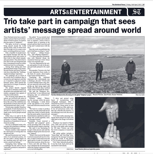 Telephone Project in Shetland Times 16:0