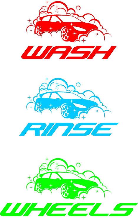 """Wash"", ""Rinse"" & ""Wheels"" Bucket Stickers"