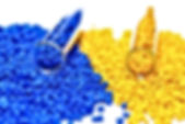 Pigments blue and yellow