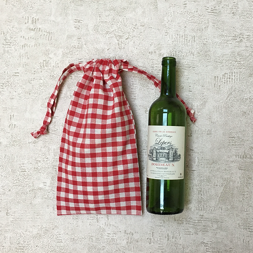 smallbags vichy rouge & vert, bouteille & pain / cotton bottle or bread bags