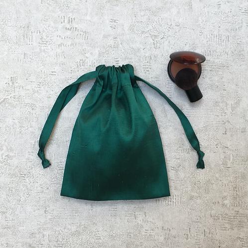 smallbag unique soie sauvage verte  / unique green silk bag