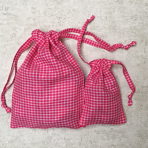 kit 2 smallbags en lin fuchsia / pink linen 2 bags kit