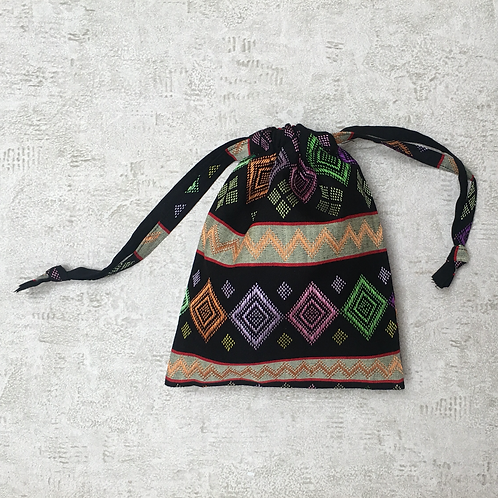 smallbag tissus birman brodé doublé voile vert / embroidered Burmese bag