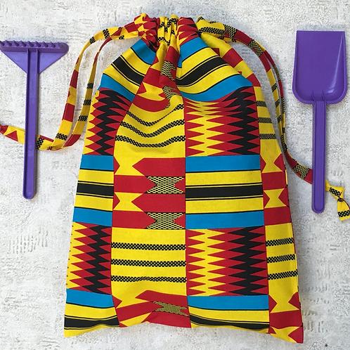 sac de plage unique motifs africains / unique laundry or beach bag