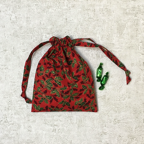smallbags rouges imprimés houx / christmas printed cotton bags