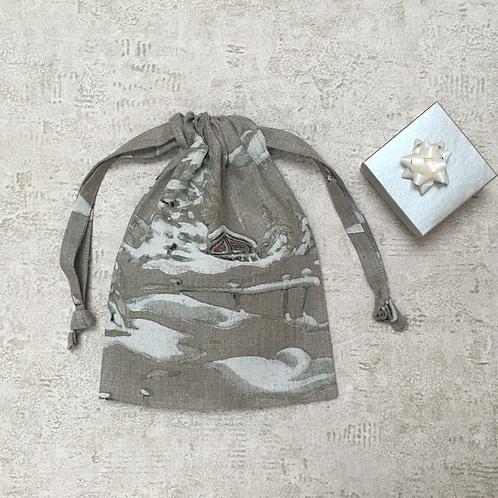 smallbag unique en lin peint  / unique painted linen bag
