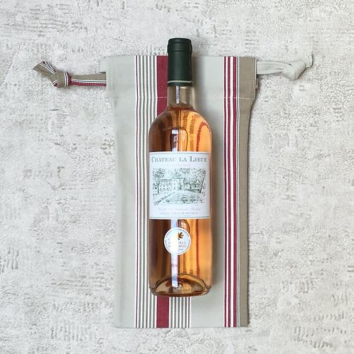 sac à bouteille en toile à matelas rayée - coton / bottle bag in mattress cover