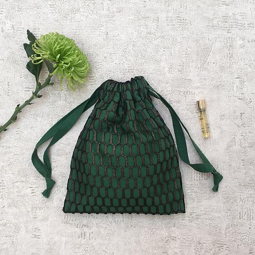 smallbag unique dentelle bronze doublé vert / unique lace and cotton veil bag
