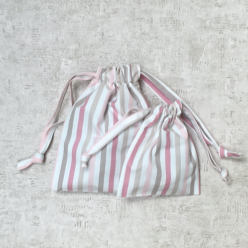 smallbags rayures - 2 tailles / cotton sheet bags - 2 sizes