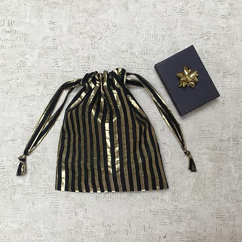 smallbag unique voile rayé noir et doré   / striped gold and black bags