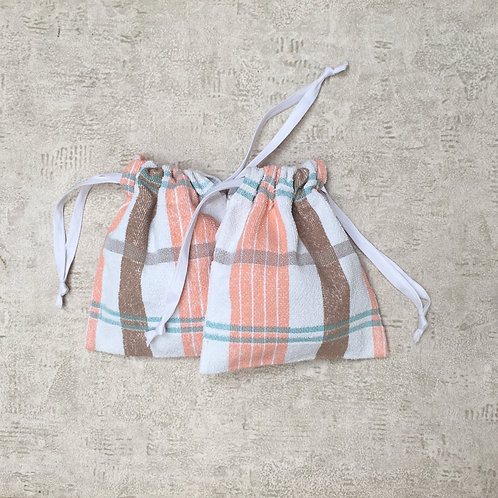 kit 2 smallbags recyclés éponge / recycled kit 2 spongey cotton fabric smallbags