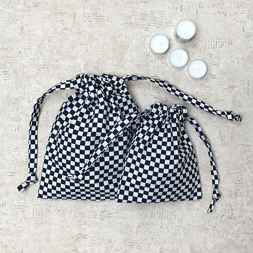 smallbags damier noir & blanc - 2 tailles / black & white chekerboard - 2 sizes