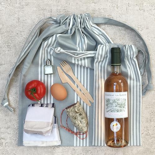 kit pique-nique : baluchon & sac bouteille / picnic kit : backpack & bottle bag