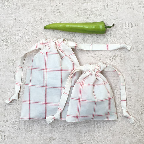 smallbags torchon ivoire  - 2 tailles / cotton fabric bags - 2 sizes