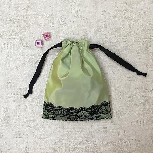 sac sexy - taffetas & dentelle - green taffeta & black lace / toys bag - 2 sizes