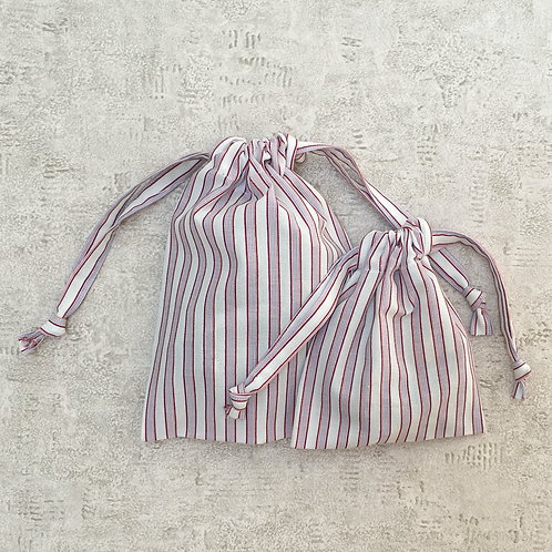 smallbags rayures - 2 tailles / cotton fabric bags - 2 sizes