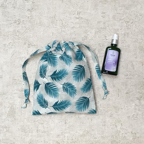 smallbags coton imprimé plumes bleue - 2 tailles / printed cotton bags - 2 sizes