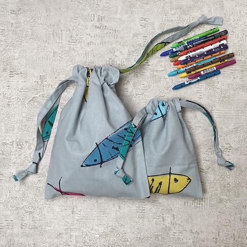 kit unique 2 smallbags poissons fond gris / unique grey cotton 2 bags kit