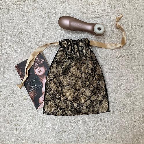 smallbag unique dentelle doublé de soie - black lace lined with silk