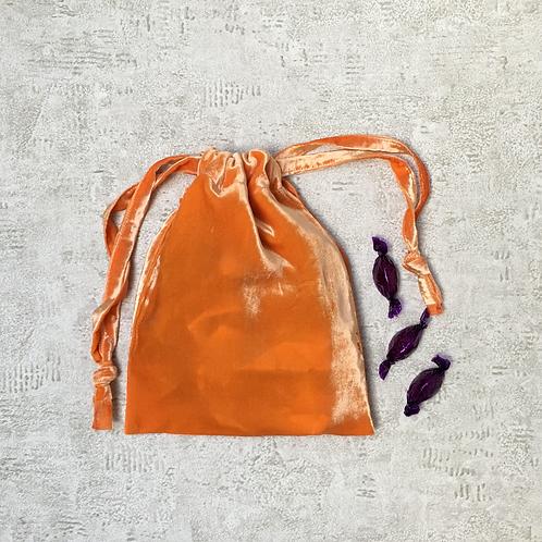 smallbags velours lisse orange / orange velvet bag
