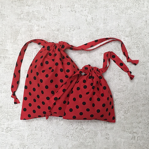smallbags à pois noirs - 2 tailles / printed black polka dots - 2 size