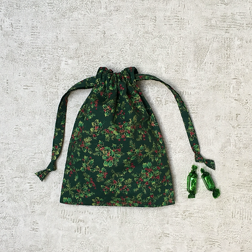 smallbags verts imprimés houx / christmas printed cotton bags