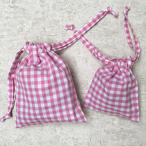 smallbags en vichy - 3 tailles - 7 couleurs / cotton bags - 3 sizes - 7 colors