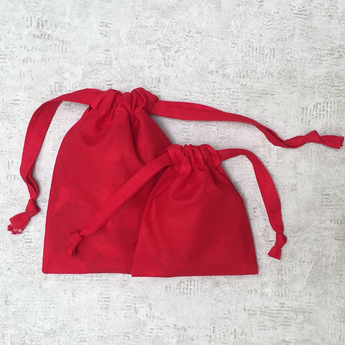 smallbags rouges unis - 2 tailles  / plain red cotton bags - 2 sizes