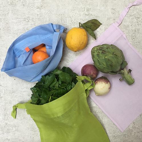 smallbags voile de coton pastel  - 3 couleurs 2 tailles / pastel veil bags