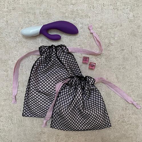 smallbags résille doublée - 2 tailles / black fishnet lined w pink cotton veil