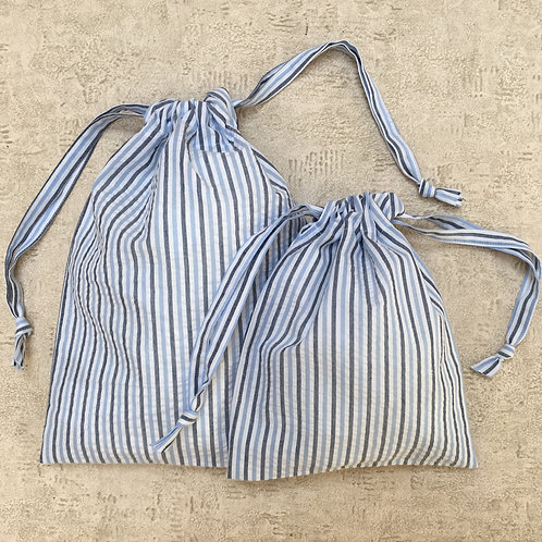 kit 4 smallbags coton  recyclé / recycled striped cotton - 4 bag