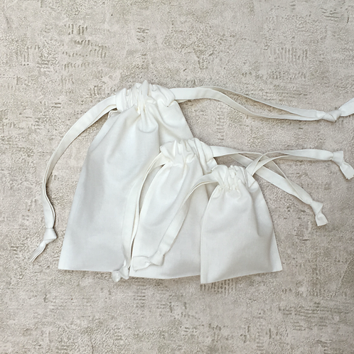 smallbags en drap de coton blanc cassé - 5 tailles / ivory cotton bags - 5 sizes