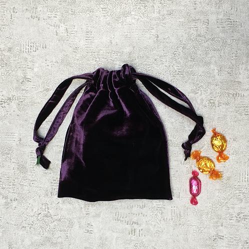 smallbags velours lisse changeant / dark purple velvet reflecting green bag