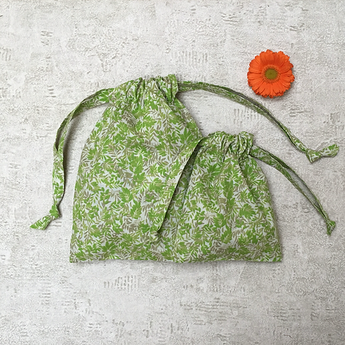 smallbags coton imprimé feuillage - 2 tailles / printed cotton bags - 2 sizes