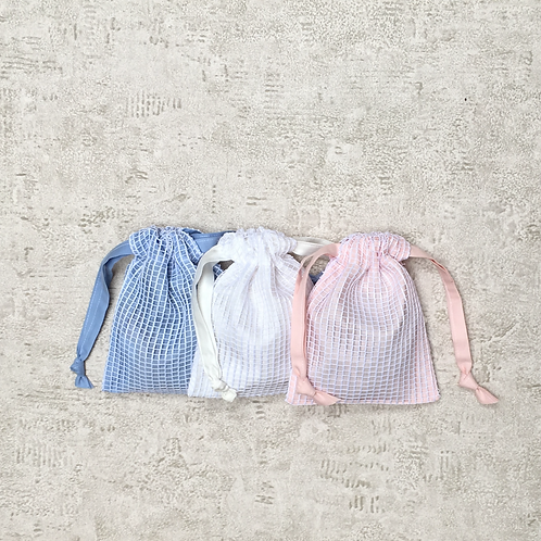 smallbags filet de coton doublés - 5 couleurs  / lined cotton net fabric bags