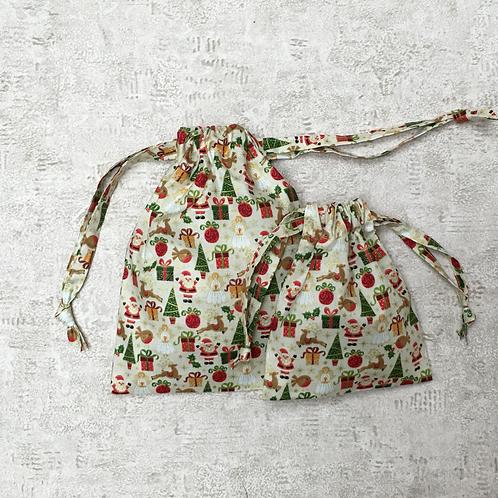 smallbags coton imprimé noël - 2 tailles / printed cotton xmas bags - 2 sizes