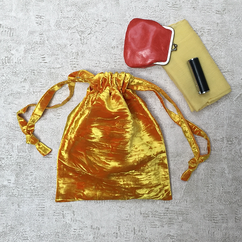 smallbag velours froissé changeant / yellow velvet reflecting fuschia bag