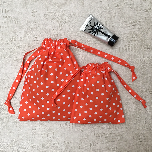 smallbags coton à pois - 2 tailles / printed cotton bags - 2 sizes