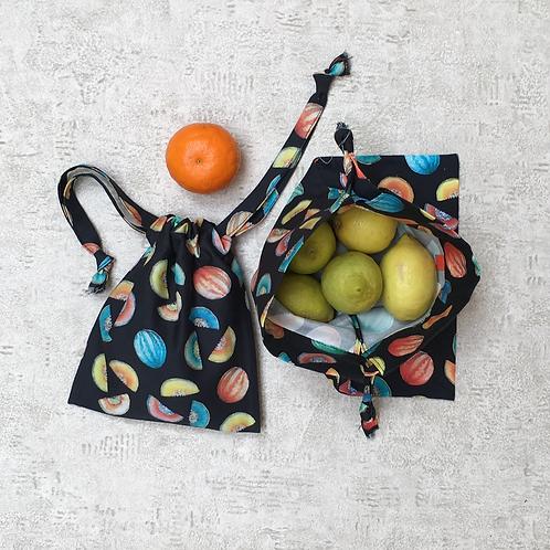smallbags imprimé pastèques  - 2 tailles / cotton fabric bags - 2 sizes